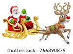 christmas santa claus and his... | Shutterstock . vector #766390879