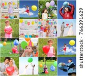 collage with happy children and ... | Shutterstock . vector #766391629