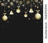 winter christmas dark... | Shutterstock .eps vector #766393594