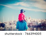 family travel   father and son... | Shutterstock . vector #766394005