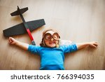 little girl with helmet and... | Shutterstock . vector #766394035