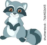 cartoon cute baby raccoon | Shutterstock .eps vector #766402645