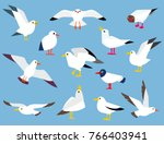 set of beautiful seagulls in a ... | Shutterstock . vector #766403941