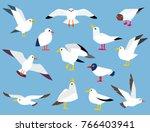 set of beautiful seagulls in a ... | Shutterstock . vector #766403941