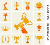 trophy and awards icons set. ... | Shutterstock . vector #766410445