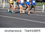 female and male marathon... | Shutterstock . vector #766410895