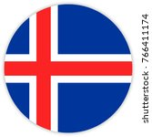 round flag of iceland. circle... | Shutterstock .eps vector #766411174
