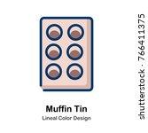 muffin tin leneal color vector... | Shutterstock .eps vector #766411375