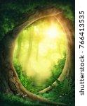 dark magic forest with sunshine | Shutterstock . vector #766413535
