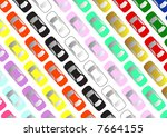 rows of colorful cars aerial... | Shutterstock . vector #7664155