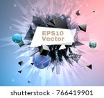 abstract explosion with banner | Shutterstock .eps vector #766419901