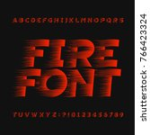 abstract fire alphabet font.... | Shutterstock .eps vector #766423324