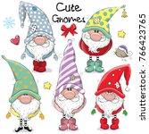 Set Of Cute Cartoon Gnomes...