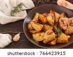 roasted potatoes with rosemary... | Shutterstock . vector #766423915