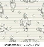rocket line pattern on paper... | Shutterstock .eps vector #766436149