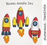 rocket doodle set color vector | Shutterstock .eps vector #766437454