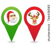 cartoon christmas map pin icons | Shutterstock .eps vector #766438585