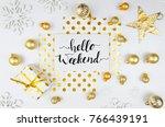 lettering banner mockup flatlay ... | Shutterstock . vector #766439191