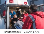 team of paramedics moving... | Shutterstock . vector #766441771