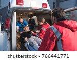 team of paramedics moving... | Shutterstock . vector #766441771