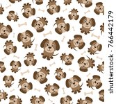 seamless pattern with cute... | Shutterstock . vector #766442179