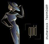 gold neon fashion woman... | Shutterstock .eps vector #766442689