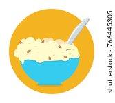 bowl of porridge isolated on...   Shutterstock .eps vector #766445305