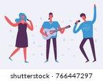 vector illustration of singing... | Shutterstock .eps vector #766447297