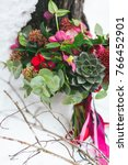 rustic wedding bouquet with... | Shutterstock . vector #766452901