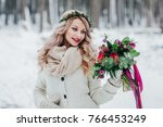cute bride of slavic appearance ... | Shutterstock . vector #766453249