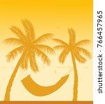 silhouette of hammock under the ... | Shutterstock .eps vector #766457965