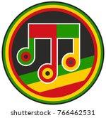 music note in reggae style logo