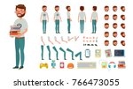 geek man vector. animated... | Shutterstock .eps vector #766473055