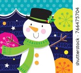 holly jolly snowman | Shutterstock .eps vector #766475704