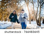 beautiful loving couple walking ... | Shutterstock . vector #766483645