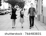 family of mimes holding hands... | Shutterstock . vector #766483831