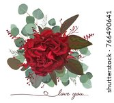 Stock vector vector floral bouquet design garden red burgundy rose flower seeded antique eucalyptus branch 766490641