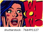 vintage pop art style comic... | Shutterstock .eps vector #766491127