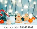 christmas gingerbread and milk...   Shutterstock . vector #766495267