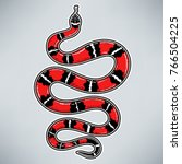 hand drawn vintage snake with... | Shutterstock .eps vector #766504225
