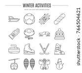 vector winter activities icon... | Shutterstock .eps vector #766504621