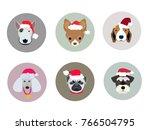 new year dogs set. vector...   Shutterstock .eps vector #766504795