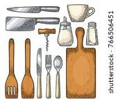 set kitchen utensils. wood... | Shutterstock .eps vector #766506451