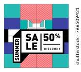 summer sale memphis style web... | Shutterstock .eps vector #766509421