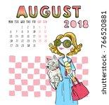 August. 2018 Calendar. Cute...
