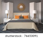 modern bedroom interior. 3d... | Shutterstock . vector #76653091