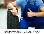 car mechanic in workshop | Shutterstock . vector #766537729