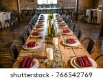 classy wedding setting.table... | Shutterstock . vector #766542769