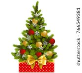 vector red box with christmas... | Shutterstock .eps vector #766549381