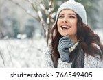 beautiful smiling young woman... | Shutterstock . vector #766549405